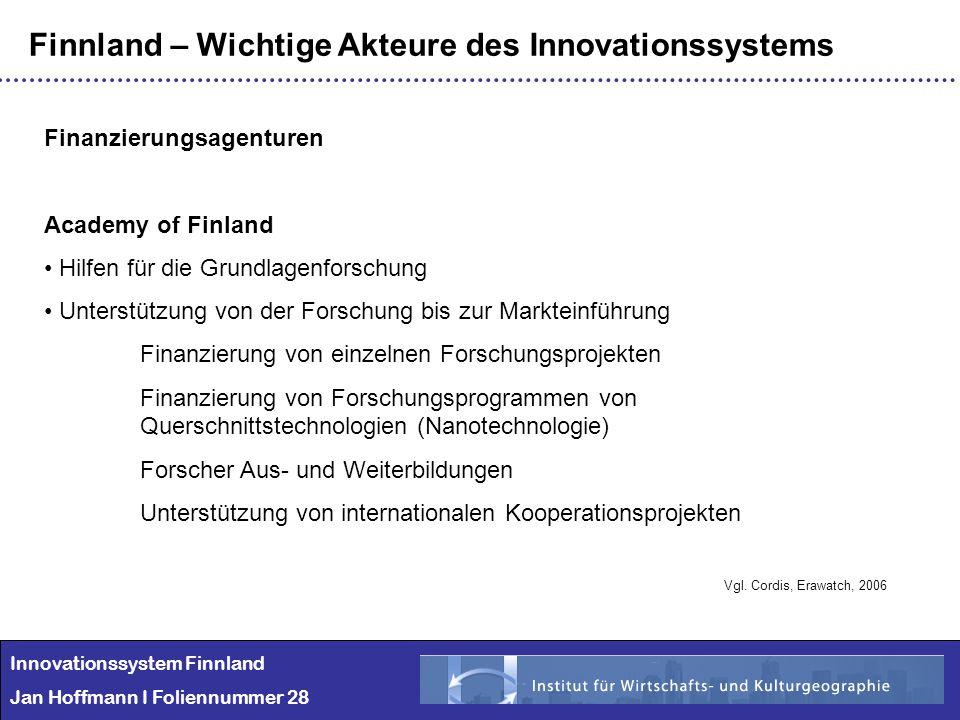 Innovationssystem Finnland Jan Hoffmann I Foliennummer 28 Finnland – Wichtige Akteure des Innovationssystems Finanzierungsagenturen Academy of Finland