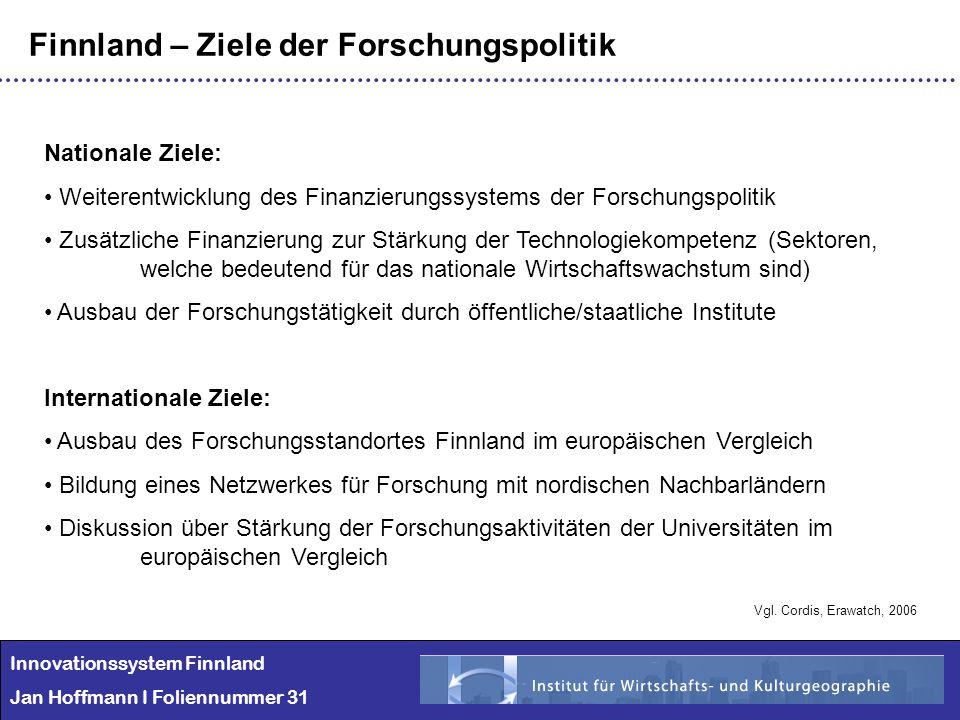 Innovationssystem Finnland Jan Hoffmann I Foliennummer 31 Finnland – Ziele der Forschungspolitik Nationale Ziele: Weiterentwicklung des Finanzierungss