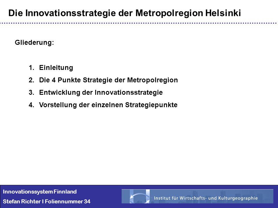 Innovationssystem Finnland Stefan Richter I Foliennummer 34 Die Innovationsstrategie der Metropolregion Helsinki Gliederung: 1.Einleitung 2.Die 4 Punk