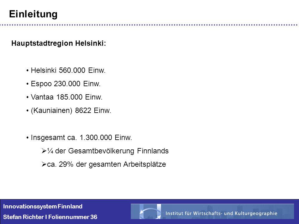 Innovationssystem Finnland Stefan Richter I Foliennummer 36 Einleitung Hauptstadtregion Helsinki: Helsinki 560.000 Einw. Espoo 230.000 Einw. Vantaa 18