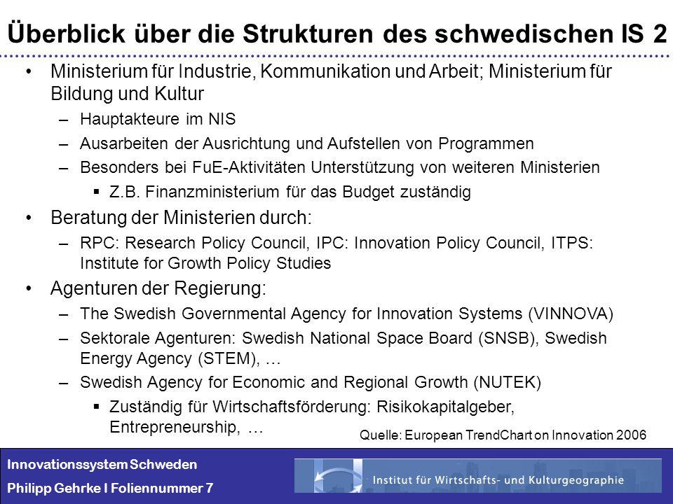 Innovationssystem Schweden Philipp Gehrke I Foliennummer 7 Überblick über die Strukturen des schwedischen IS 2 Ministerium für Industrie, Kommunikatio