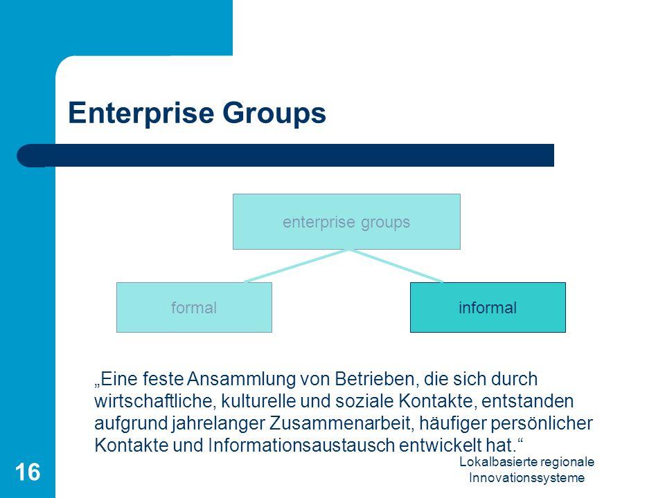 Lokalbasierte regionale Innovationssysteme 16 Enterprise Groups Eine feste Ansammlung von Betrieben, die sich durch wirtschaftliche, kulturelle und so
