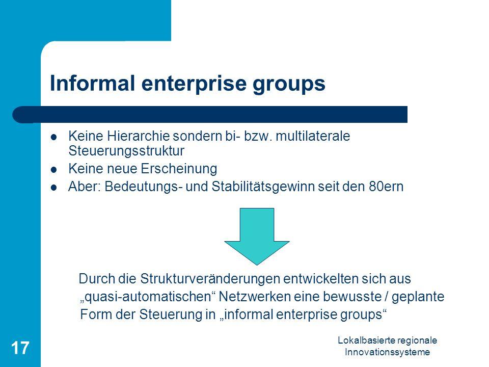 Lokalbasierte regionale Innovationssysteme 17 Informal enterprise groups Keine Hierarchie sondern bi- bzw. multilaterale Steuerungsstruktur Keine neue