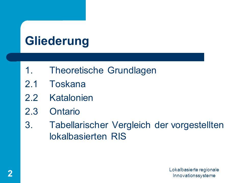 Lokalbasierte regionale Innovationssysteme 2 Gliederung 1.Theoretische Grundlagen 2.1Toskana 2.2Katalonien 2.3Ontario 3. Tabellarischer Vergleich der