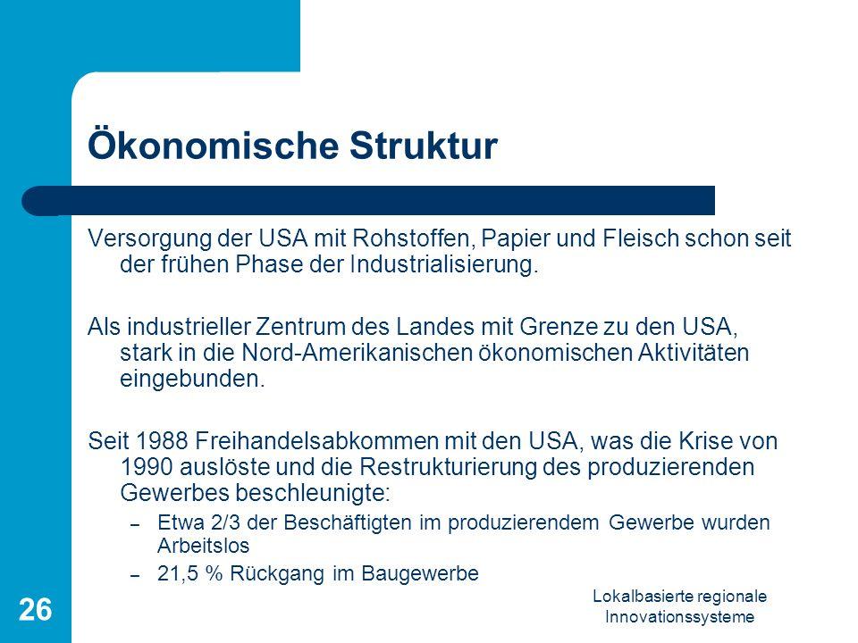 Lokalbasierte regionale Innovationssysteme 26 Ökonomische Struktur Versorgung der USA mit Rohstoffen, Papier und Fleisch schon seit der frühen Phase d