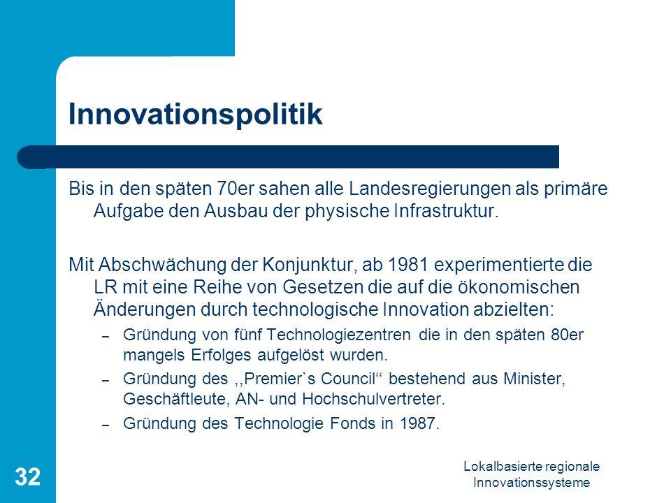 Lokalbasierte regionale Innovationssysteme 32 Innovationspolitik Bis in den späten 70er sahen alle Landesregierungen als primäre Aufgabe den Ausbau de