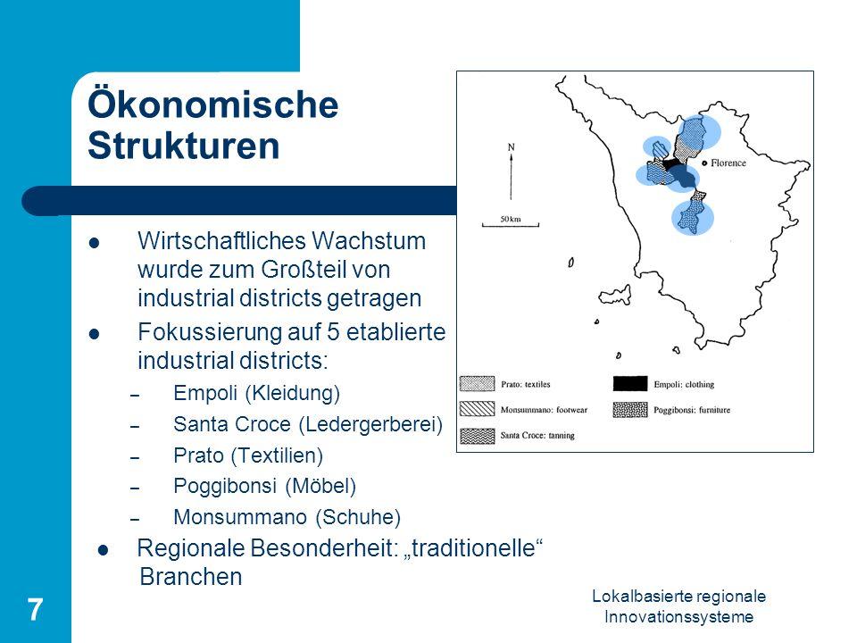 Lokalbasierte regionale Innovationssysteme 7 Ökonomische Strukturen Wirtschaftliches Wachstum wurde zum Großteil von industrial districts getragen Fok