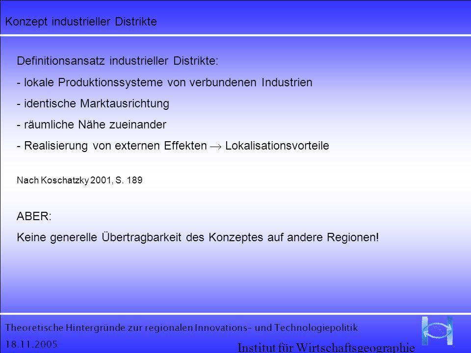 Theoretische Hintergründe zur regionalen Innovations- und Technologiepolitik 18.11.2005 Institut für Wirtschaftsgeographie Konzept industrieller Distr