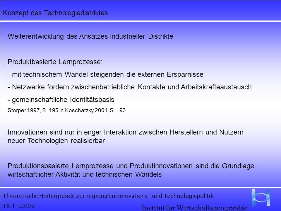 Theoretische Hintergründe zur regionalen Innovations- und Technologiepolitik 18.11.2005 Institut für Wirtschaftsgeographie Konzept des Technologiedist