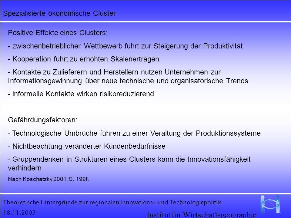 Theoretische Hintergründe zur regionalen Innovations- und Technologiepolitik 18.11.2005 Institut für Wirtschaftsgeographie Spezialisierte ökonomische