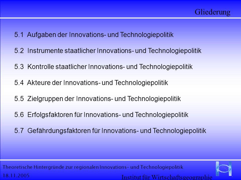 Theoretische Hintergründe zur regionalen Innovations- und Technologiepolitik 18.11.2005 Gliederung Institut für Wirtschaftsgeographie 5.1 Aufgaben der
