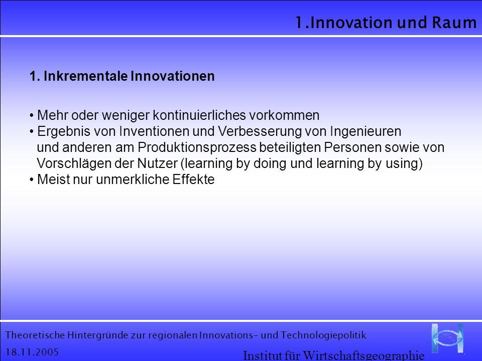 Theoretische Hintergründe zur regionalen Innovations- und Technologiepolitik 18.11.2005 1.Innovation und Raum Institut für Wirtschaftsgeographie 1. In