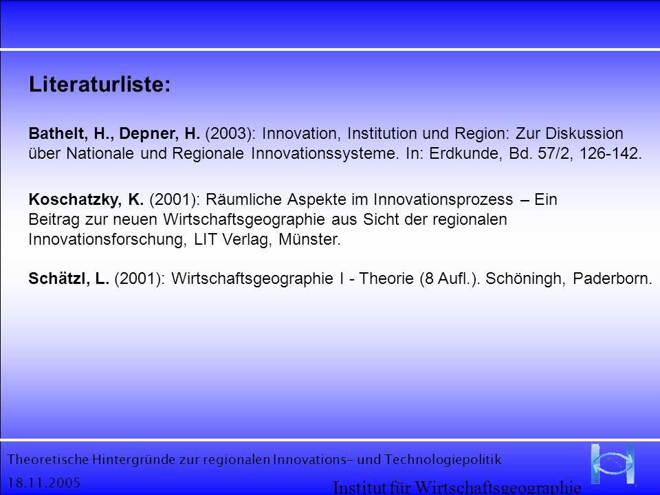 Theoretische Hintergründe zur regionalen Innovations- und Technologiepolitik 18.11.2005 Institut für Wirtschaftsgeographie Literaturliste: Bathelt, H.