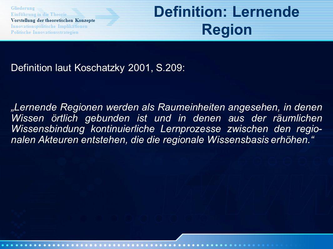 Definition laut Koschatzky 2001, S.209: Lernende Regionen werden als Raumeinheiten angesehen, in denen Wissen örtlich gebunden ist und in denen aus de