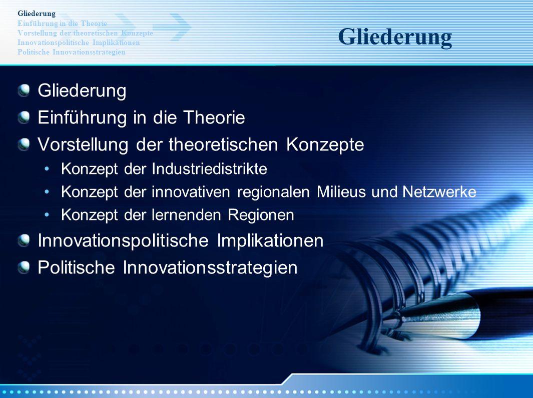 Gliederung Einführung in die Theorie Vorstellung der theoretischen Konzepte Innovationspolitische Implikationen Politische Innovationsstrategien Glied