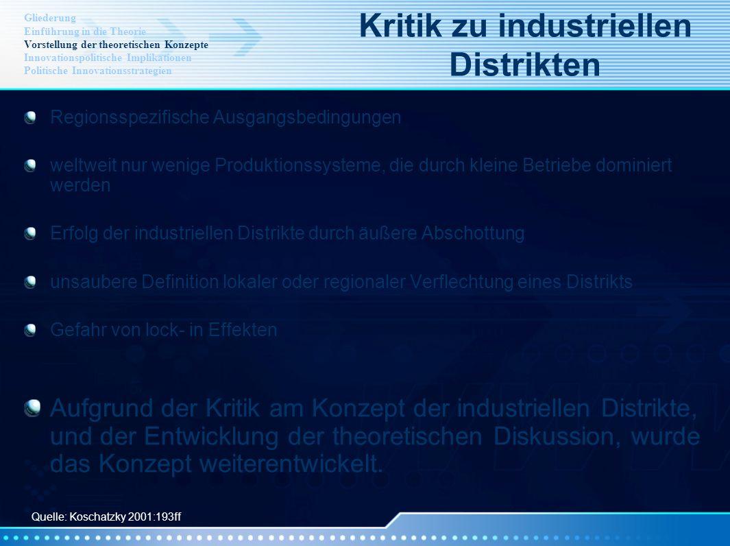 Regionsspezifische Ausgangsbedingungen weltweit nur wenige Produktionssysteme, die durch kleine Betriebe dominiert werden Erfolg der industriellen Dis