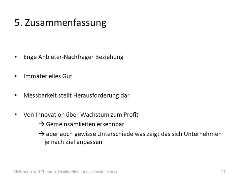 5. Zusammenfassung Enge Anbieter-Nachfrager Beziehung Immaterielles Gut Messbarkeit stellt Herausforderung dar Von Innovation über Wachstum zum Profit