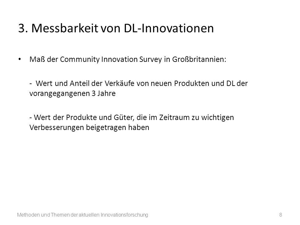 3. Messbarkeit von DL-Innovationen Maß der Community Innovation Survey in Großbritannien: - Wert und Anteil der Verkäufe von neuen Produkten und DL de