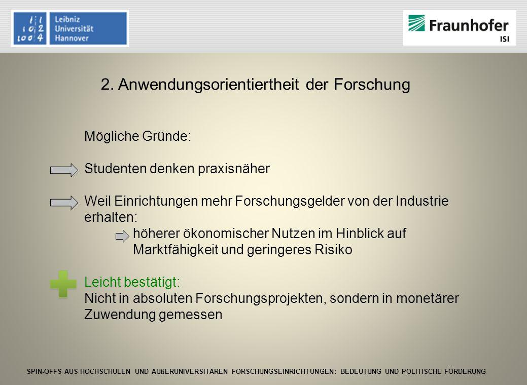SPIN-OFFS AUS HOCHSCHULEN UND AUßERUNIVERSITÄREN FORSCHUNGSEINRICHTUNGEN: BEDEUTUNG UND POLITISCHE FÖRDERUNG 2. Anwendungsorientiertheit der Forschung