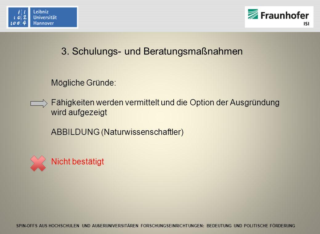 SPIN-OFFS AUS HOCHSCHULEN UND AUßERUNIVERSITÄREN FORSCHUNGSEINRICHTUNGEN: BEDEUTUNG UND POLITISCHE FÖRDERUNG 3. Schulungs- und Beratungsmaßnahmen Mögl