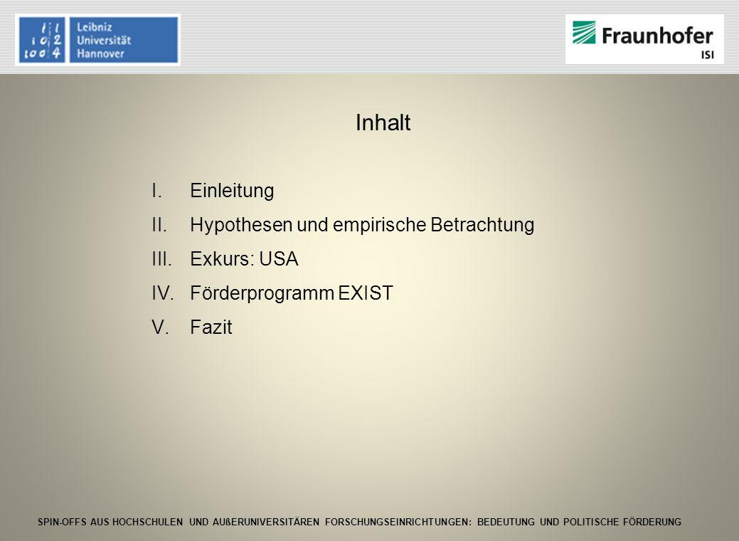 SPIN-OFFS AUS HOCHSCHULEN UND AUßERUNIVERSITÄREN FORSCHUNGSEINRICHTUNGEN: BEDEUTUNG UND POLITISCHE FÖRDERUNG Mögliche positive Einflussfaktoren auf Spin-off Gründungen aus öffentlichen Einrichtungen Hypothesen für Spin-off Gründungen aus Forschungseinrichtungen in Deutschland und Universitäten aus den USA zusammengefasst 10 Hypothesen6 signifikant