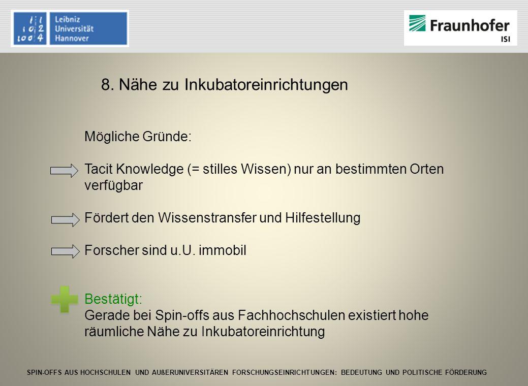 SPIN-OFFS AUS HOCHSCHULEN UND AUßERUNIVERSITÄREN FORSCHUNGSEINRICHTUNGEN: BEDEUTUNG UND POLITISCHE FÖRDERUNG 8. Nähe zu Inkubatoreinrichtungen Möglich