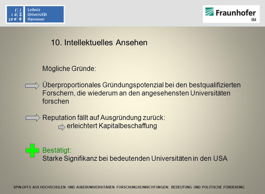 SPIN-OFFS AUS HOCHSCHULEN UND AUßERUNIVERSITÄREN FORSCHUNGSEINRICHTUNGEN: BEDEUTUNG UND POLITISCHE FÖRDERUNG 10. Intellektuelles Ansehen Mögliche Grün