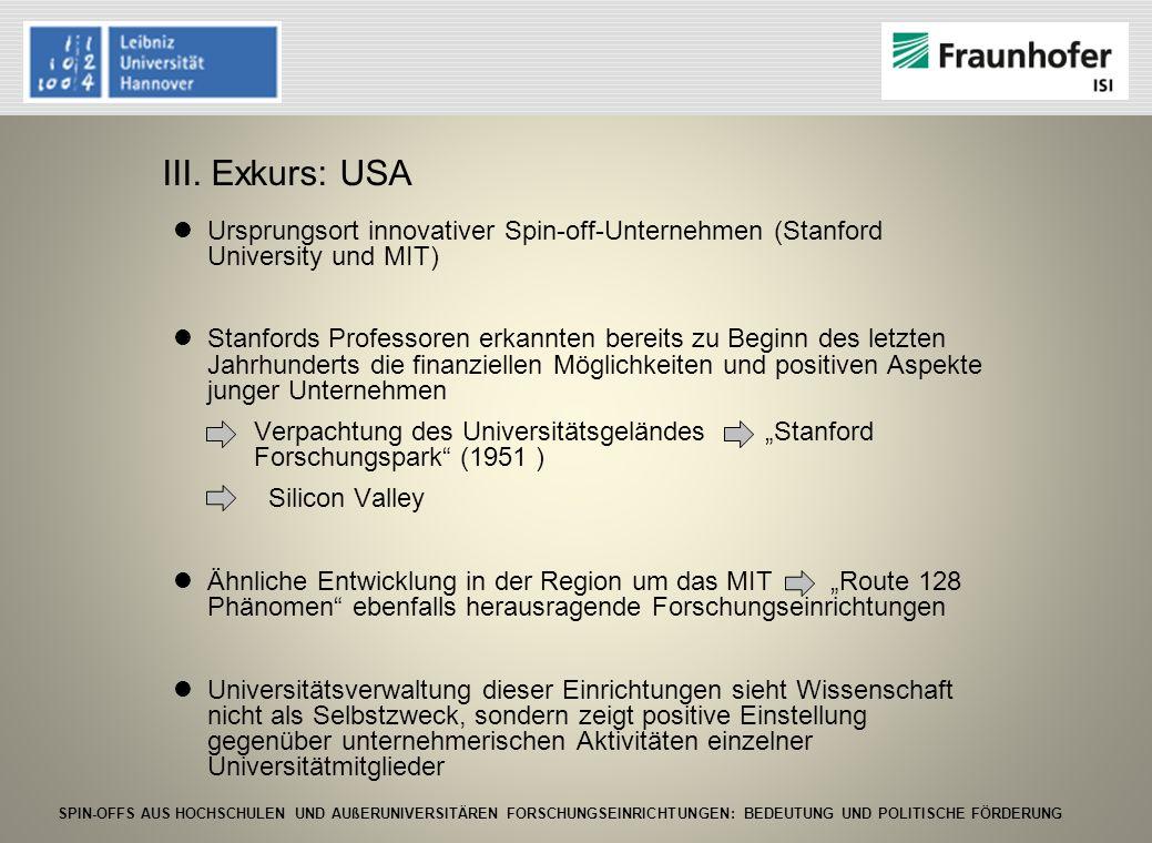 SPIN-OFFS AUS HOCHSCHULEN UND AUßERUNIVERSITÄREN FORSCHUNGSEINRICHTUNGEN: BEDEUTUNG UND POLITISCHE FÖRDERUNG Ursprungsort innovativer Spin-off-Unterne