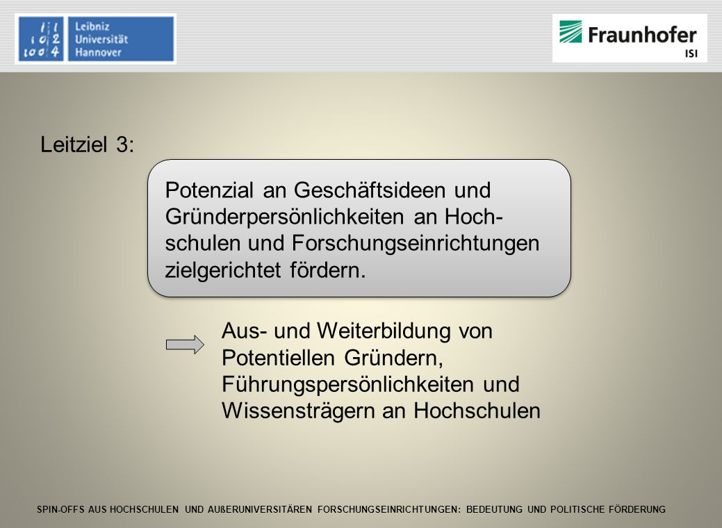 SPIN-OFFS AUS HOCHSCHULEN UND AUßERUNIVERSITÄREN FORSCHUNGSEINRICHTUNGEN: BEDEUTUNG UND POLITISCHE FÖRDERUNG Leitziel 3: Aus- und Weiterbildung von Po
