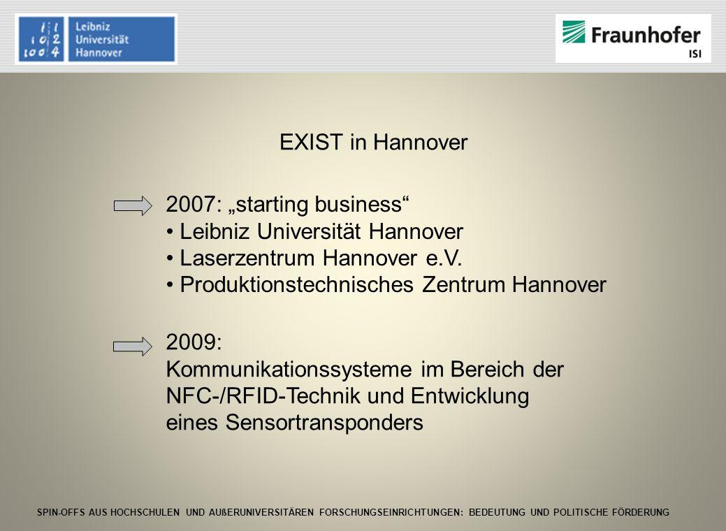 SPIN-OFFS AUS HOCHSCHULEN UND AUßERUNIVERSITÄREN FORSCHUNGSEINRICHTUNGEN: BEDEUTUNG UND POLITISCHE FÖRDERUNG EXIST in Hannover 2007: starting business
