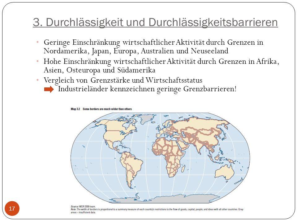 3. Durchlässigkeit und Durchlässigkeitsbarrieren Geringe Einschränkung wirtschaftlicher Aktivität durch Grenzen in Nordamerika, Japan, Europa, Austral