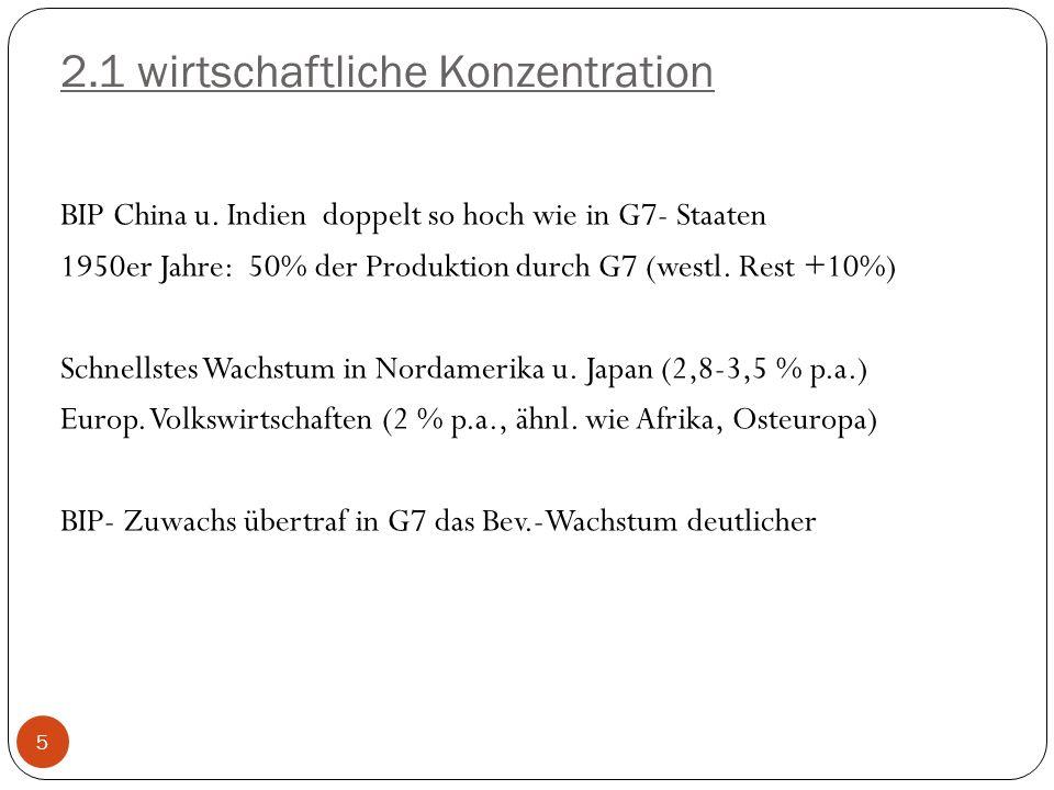 2.1 wirtschaftliche Konzentration BIP China u. Indien doppelt so hoch wie in G7- Staaten 1950er Jahre: 50% der Produktion durch G7 (westl. Rest +10%)