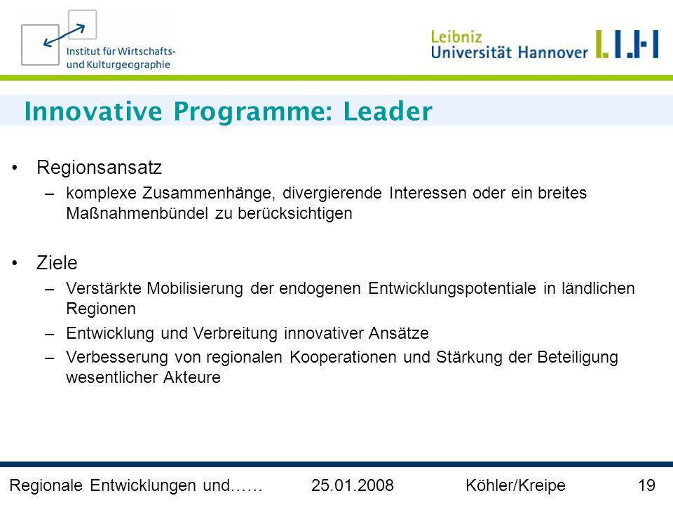 Regionale Entwicklungen und…… 25.01.2008 Köhler/Kreipe 19 Innovative Programme: Leader Regionsansatz –komplexe Zusammenhänge, divergierende Interessen