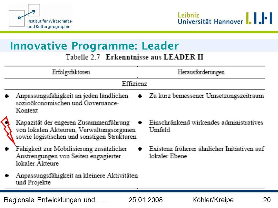 Regionale Entwicklungen und…… 25.01.2008 Köhler/Kreipe 20 Innovative Programme: Leader