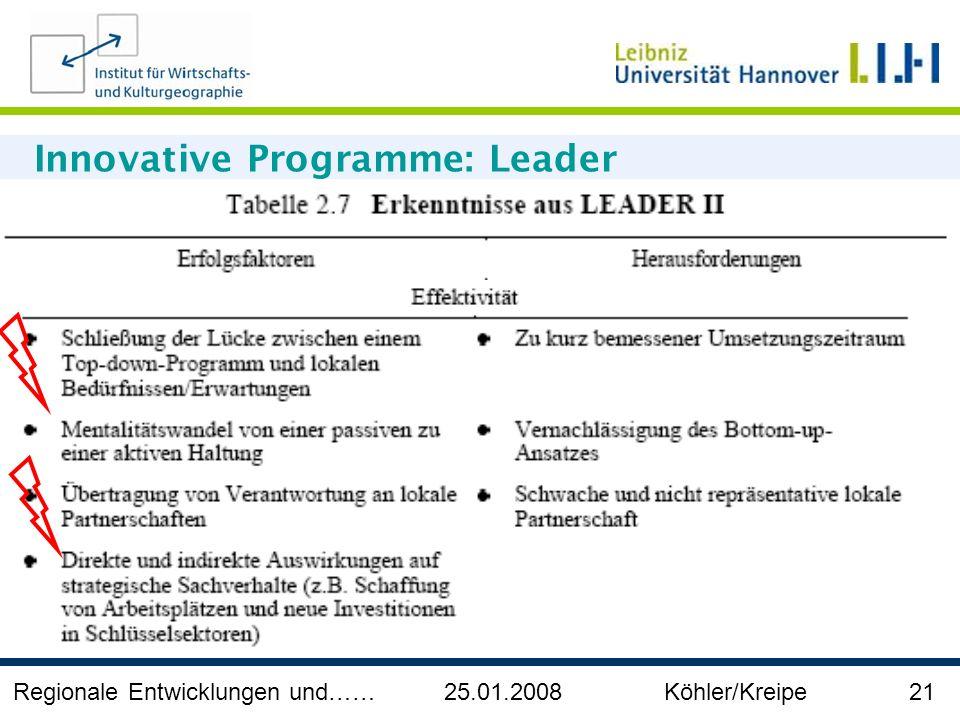 Regionale Entwicklungen und…… 25.01.2008 Köhler/Kreipe 21 Innovative Programme: Leader