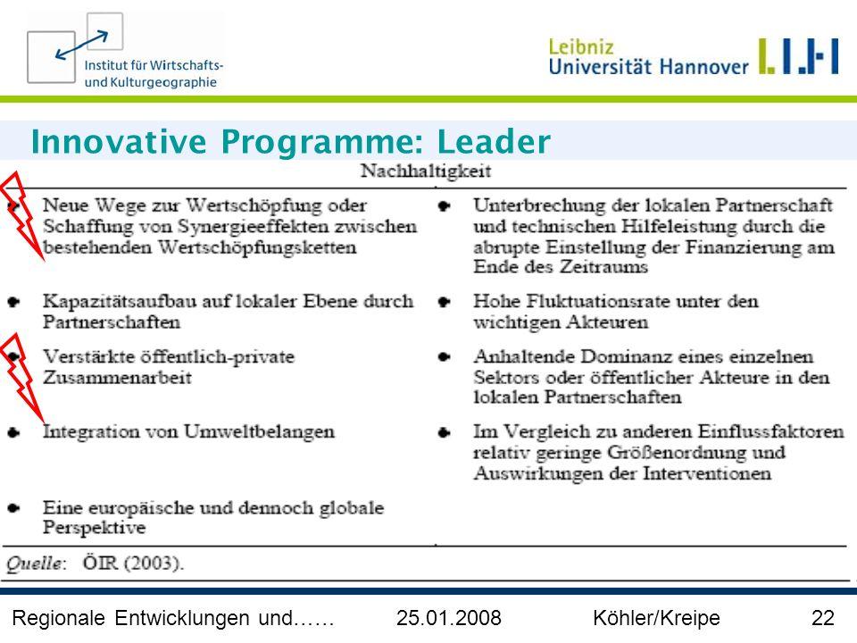 Regionale Entwicklungen und…… 25.01.2008 Köhler/Kreipe 22 Innovative Programme: Leader