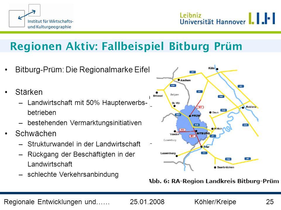 Regionale Entwicklungen und…… 25.01.2008 Köhler/Kreipe 25 Regionen Aktiv: Fallbeispiel Bitburg Prüm Bitburg-Prüm: Die Regionalmarke Eifel Stärken –Lan
