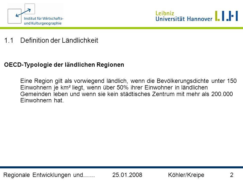 Regionale Entwicklungen und…… 25.01.2008 Köhler/Kreipe 2 1.1Definition der Ländlichkeit OECD-Typologie der ländlichen Regionen Eine Region gilt als vo