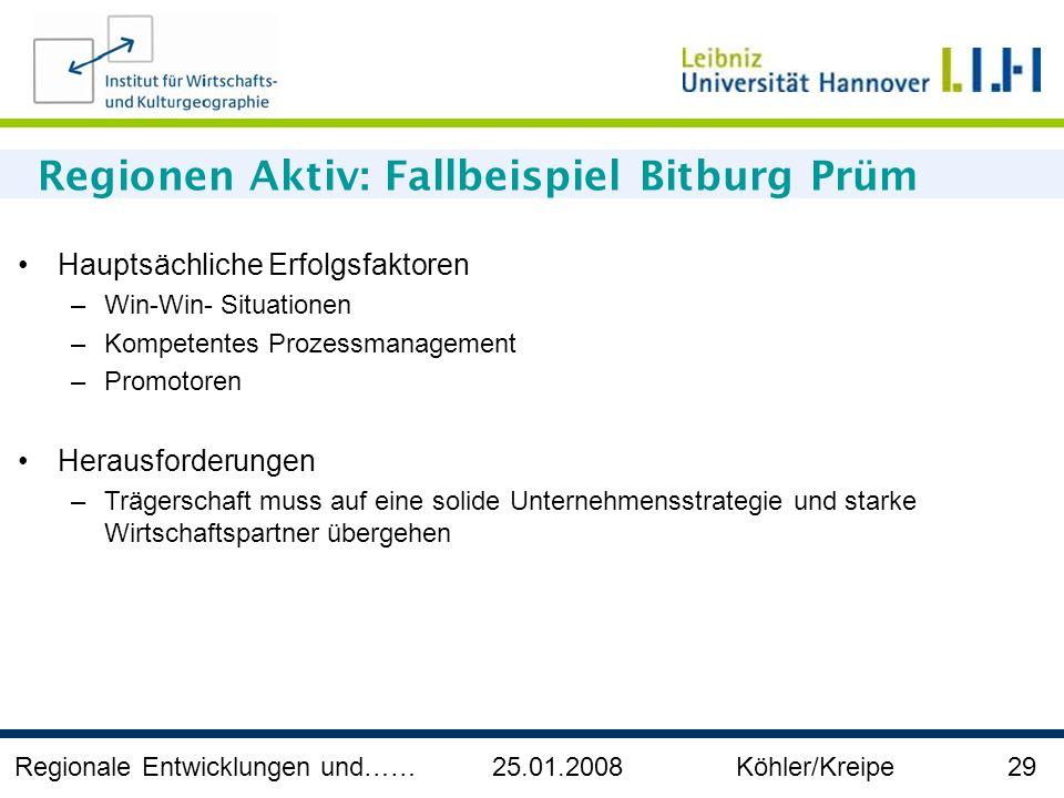 Regionale Entwicklungen und…… 25.01.2008 Köhler/Kreipe 29 Regionen Aktiv: Fallbeispiel Bitburg Prüm Hauptsächliche Erfolgsfaktoren –Win-Win- Situation