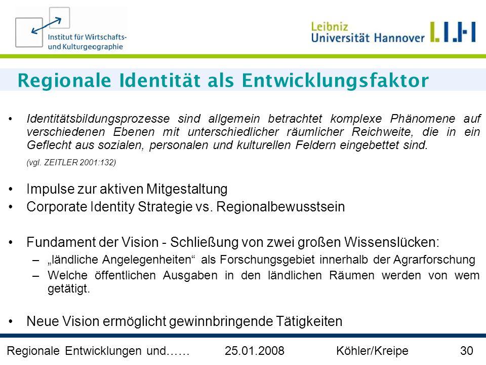 Regionale Entwicklungen und…… 25.01.2008 Köhler/Kreipe 30 Regionale Identität als Entwicklungsfaktor Identitätsbildungsprozesse sind allgemein betrach