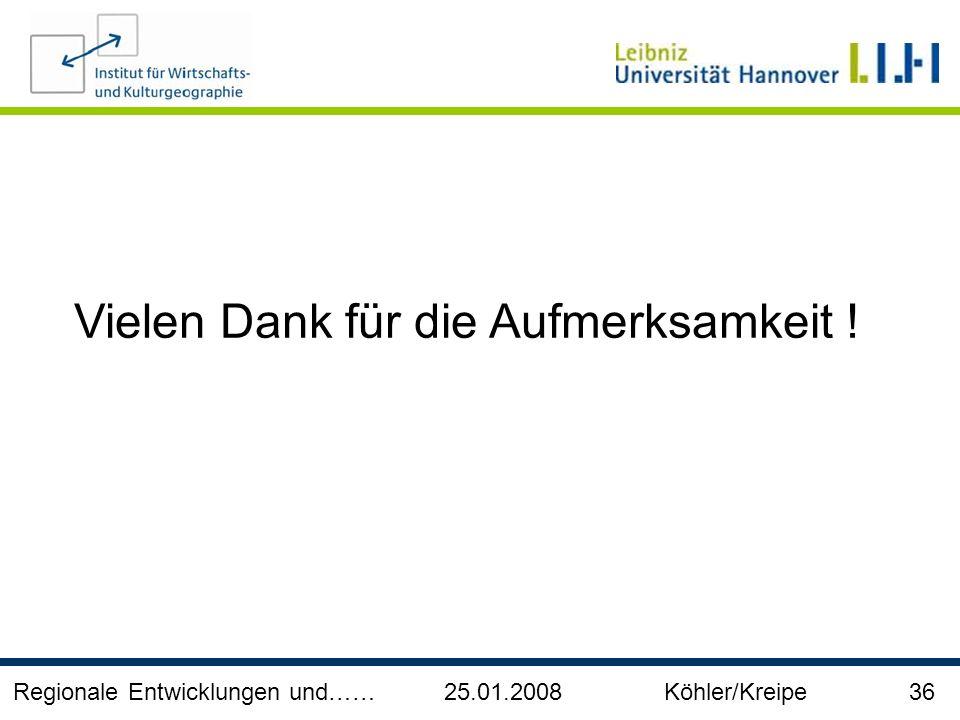 Regionale Entwicklungen und…… 25.01.2008 Köhler/Kreipe 36 Vielen Dank für die Aufmerksamkeit !