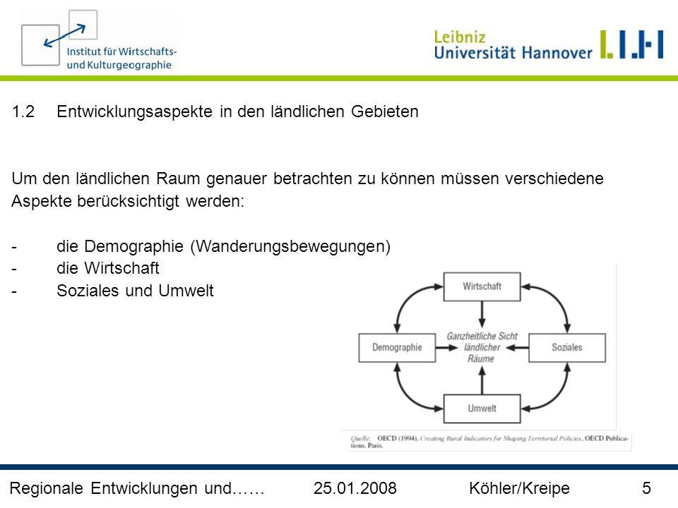Regionale Entwicklungen und…… 25.01.2008 Köhler/Kreipe 6 Demographie und Wanderungsbewegungen Wanderungssaldo nach Kreistyp und Altersgruppe, 1997 - 2004