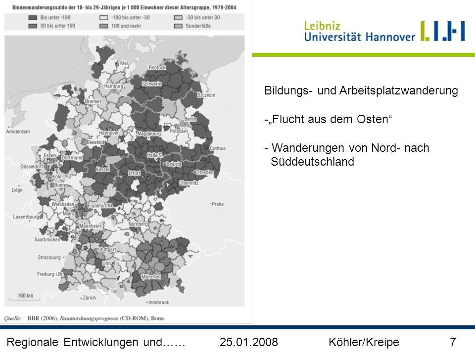 Regionale Entwicklungen und…… 25.01.2008 Köhler/Kreipe 7 Bildungs- und Arbeitsplatzwanderung -Flucht aus dem Osten - Wanderungen von Nord- nach Süddeu