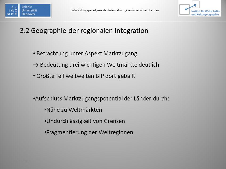 3.2 Geographie der regionalen Integration Entwicklungsparadigma der Integration: Gewinner ohne Grenzen Betrachtung unter Aspekt Marktzugang Bedeutung