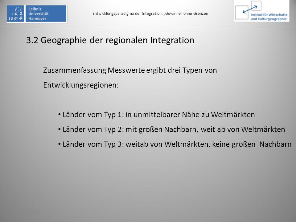 3.2 Geographie der regionalen Integration Entwicklungsparadigma der Integration: Gewinner ohne Grenzen Zusammenfassung Messwerte ergibt drei Typen von