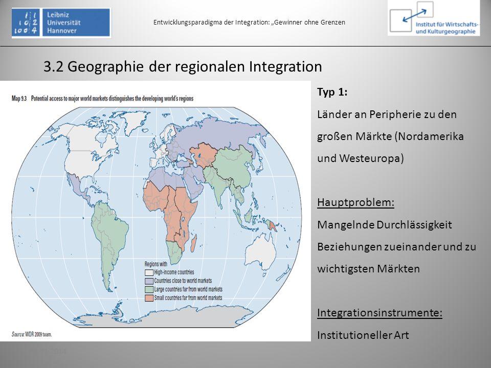 3.2 Geographie der regionalen Integration Entwicklungsparadigma der Integration: Gewinner ohne Grenzen Typ 1: Länder an Peripherie zu den großen Märkt