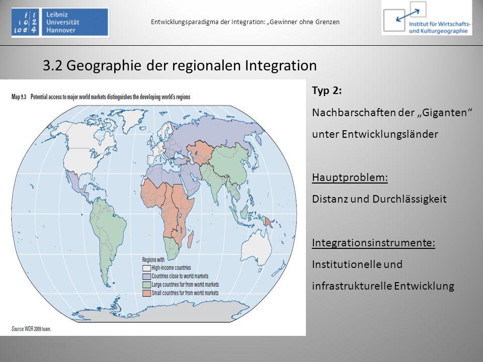 3.2 Geographie der regionalen Integration Entwicklungsparadigma der Integration: Gewinner ohne Grenzen Typ 2: Nachbarschaften der Giganten unter Entwi