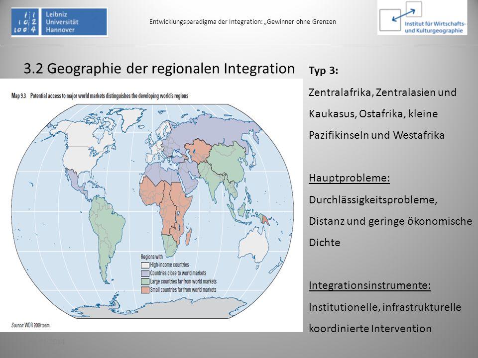 3.2 Geographie der regionalen Integration Entwicklungsparadigma der Integration: Gewinner ohne Grenzen Typ 3: Zentralafrika, Zentralasien und Kaukasus