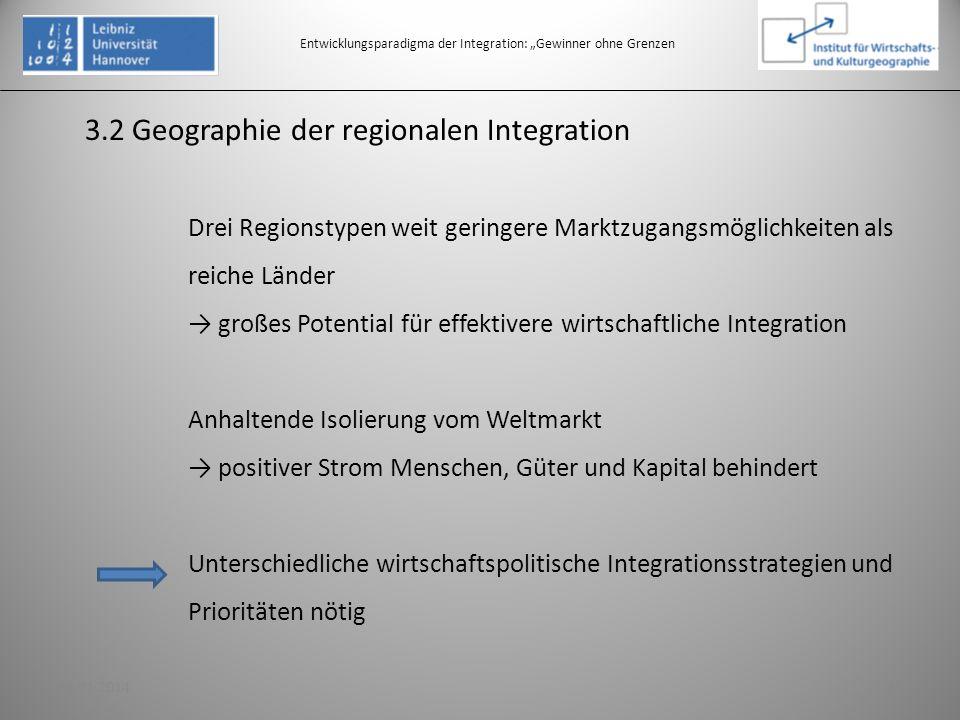 3.2 Geographie der regionalen Integration Entwicklungsparadigma der Integration: Gewinner ohne Grenzen Drei Regionstypen weit geringere Marktzugangsmö