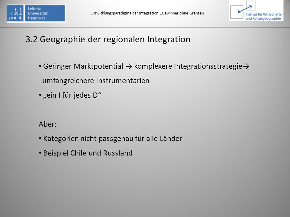 3.2 Geographie der regionalen Integration Entwicklungsparadigma der Integration: Gewinner ohne Grenzen Geringer Marktpotential komplexere Integrations